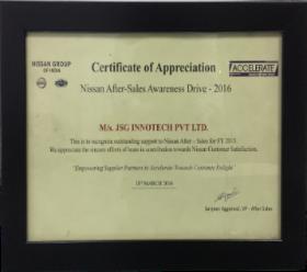JSG certification of Appreciation